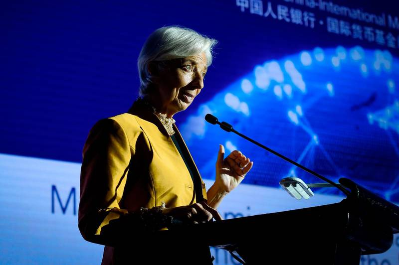 Managing Director of the International Monetary Fund (IMF) Christine Lagarde speaks at the Joint People's Bank of China-International Monetary Fund High-Level Conference in Beijing on April 12, 2018. / AFP PHOTO / WANG ZHAO