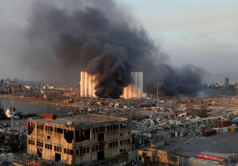 FILE PHOTO: Smoke rises from the site of an explosion in Beirut's port area, Lebanon August 4, 2020. REUTERS/Mohamed Azakir/File Photo