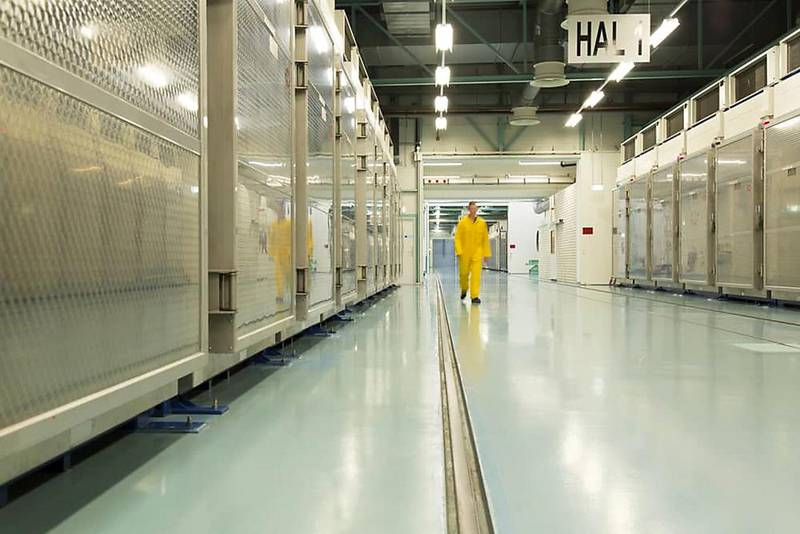 """A handout picture released by Iran's Atomic Energy Organization on November 6, 2019, shows the interior of the Fordo (Fordow) Uranium Conversion Facility in Qom, in the north of the country. - An Iranian official announced that the plant will start enriching uranium at midnight. (Photo by HO / Atomic Energy Organization of Iran / AFP) / === RESTRICTED TO EDITORIAL USE - MANDATORY CREDIT """"AFP PHOTO / HO / ATOMIC ENERGY ORGANIZATION OF IRAN"""" - NO MARKETING NO ADVERTISING CAMPAIGNS - DISTRIBUTED AS A SERVICE TO CLIENTS ==="""