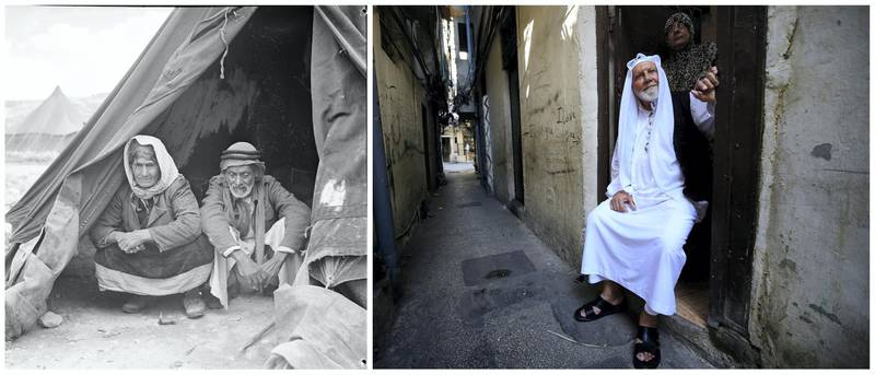 """A combination picture shows Palestinian refugees sitting inside their tent in the newly formed Ein El Hilweh refugee camp in Beirut, Lebanon, in this handout picture believed to be taken in 1948. UNRWA/Myrtle Winter Chaumeny/Handout via REUTERS (L) and an elderly Palestinian man sitting with his wife standing behind him, poses for photo inside their house at the Ain el-Hilweh refugee camp near Sidon, southern Lebanon, September 24, 2019. REUTERS/Ali Hashisho ATTENTION EDITORS - THIS IMAGE WAS PROVIDED BY A THIRD PARTY. NO RESALES. NO ARCHIVES SEARCH """"UNRWA COMBOS"""" FOR THIS STORY. SEARCH """"WIDER IMAGE"""" FOR ALL STORIES."""