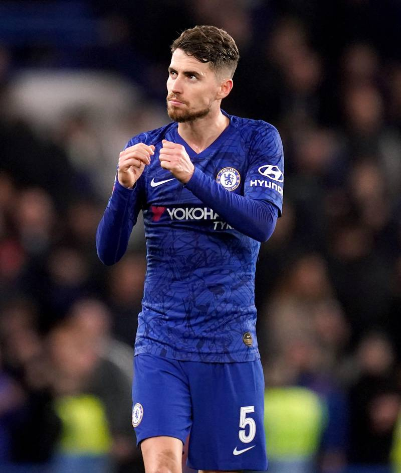 """Chelsea's Jorginho celebrates at the end of the FA Cup fifth round match at Stamford Bridge, London. PA Photo. Picture date: Tuesday March 3, 2020. See PA story SOCCER Chelsea. Photo credit should read: John Walton/PA Wire. RESTRICTIONS: EDITORIAL USE ONLY No use with unauthorised audio, video, data, fixture lists, club/league logos or """"live"""" services. Online in-match use limited to 120 images, no video emulation. No use in betting, games or single club/league/player publications."""
