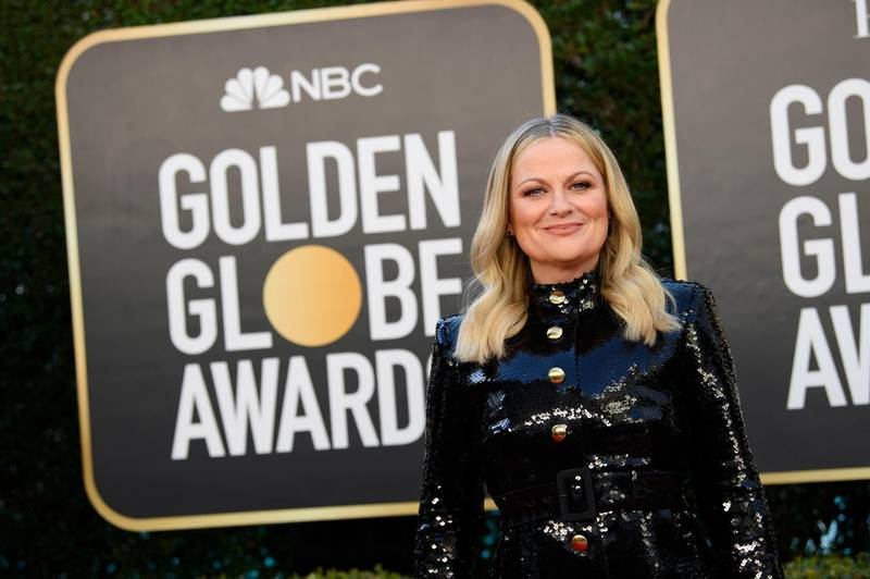epa09043754 Handout image released by the Hollywood Foreign Press Association showing Amy Poehler arriving for the 78th annual Golden Globe Awards ceremony at the Beverly Hilton Hotel, in Beverly Hills, California, USA, 28 February 2021.  EPA/HFPA / HANDOUT EDITORIAL USE ONLY, NO SALES