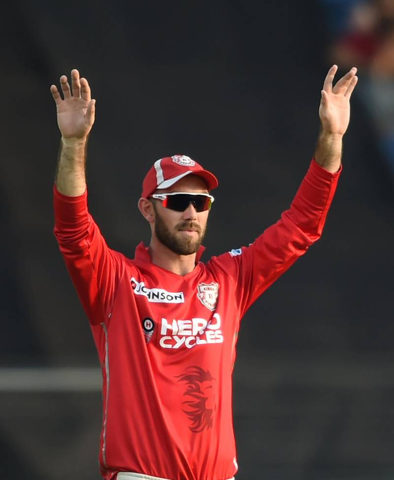 Kings XI Punjab cricketer Glenn Maxwell gestures during the 2017 Indian Premier League (IPL) Twenty20 cricket match between Rising Pune Supergiant and Kings XI Punjab at The Maharashtra Cricket Association Stadium in Pune on May 14, 2017. ------IMAGE RESTRICTED TO EDITORIAL USE - STRICTLY NO COMMERCIAL USE----- / GETTYOUT------ (Photo by INDRANIL MUKHERJEE / AFP) / ----IMAGE RESTRICTED TO EDITORIAL USE - STRICTLY NO COMMERCIAL USE----- / GETTYOUT