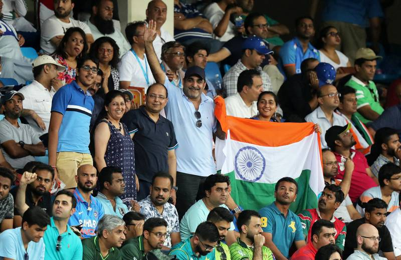 DUBAI , UNITED ARAB EMIRATES, September 19 , 2018 :- Supporters of India during the  Asia Cup UAE 2018 cricket match between Pakistan vs India held at Dubai International Cricket Stadium in Dubai. ( Pawan Singh / The National )  For Sports. Story by Paul