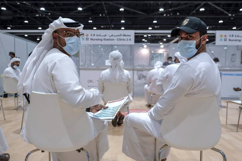 Abu Dhabi, United Arab Emirates, August 6, 2020.  Vaccine volunteers wait to get their tests at the ADNEC volunteer facility. Victor Besa /The NationalSection: NAReporter:  Shireena Al Nowais