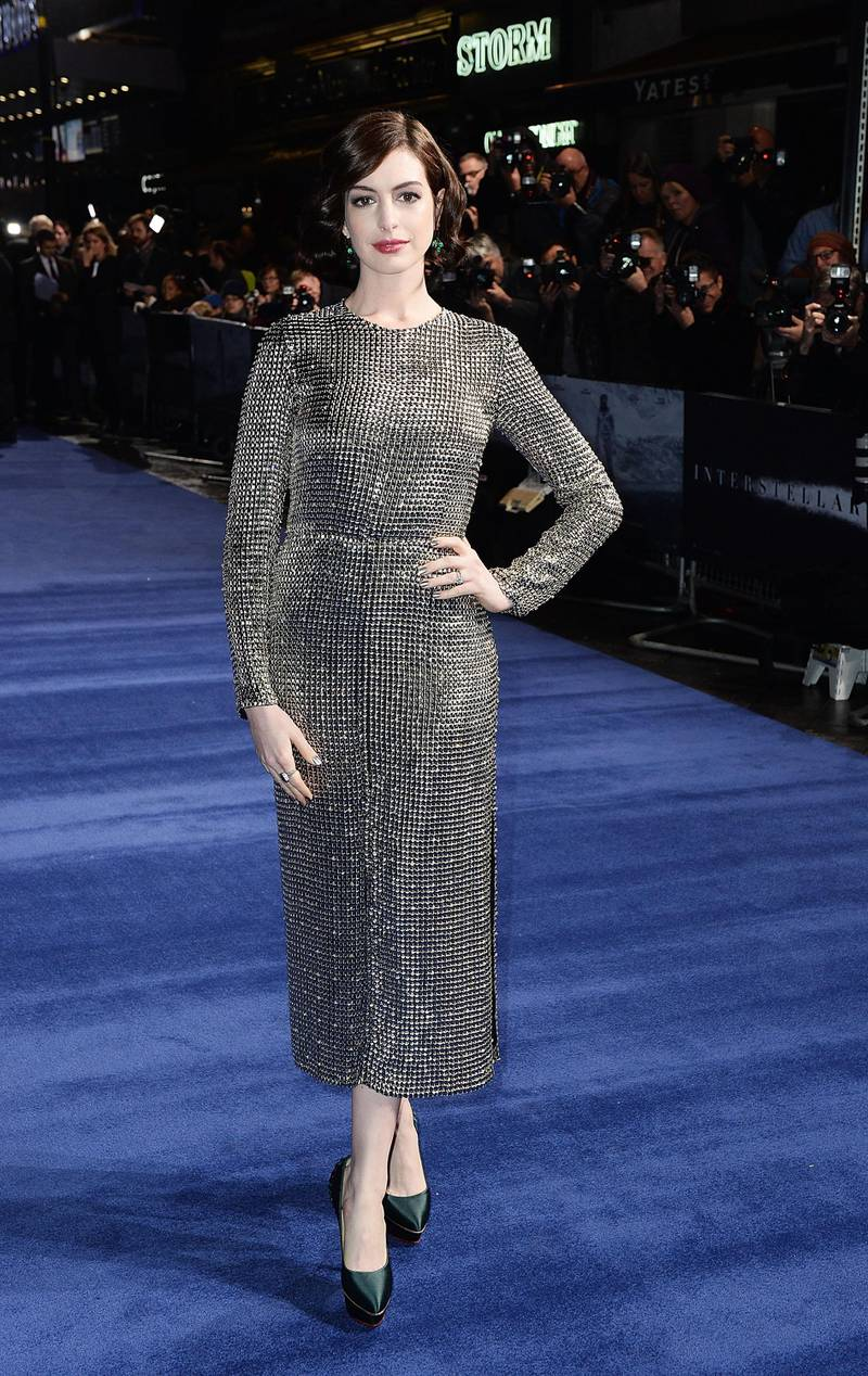 """LONDON, ENGLAND - OCTOBER 29:  Anne Hathaway attends the European premiere of """"Interstellar"""" at Odeon Leicester Square on October 29, 2014 in London, England.  (Photo by Dave J Hogan/Getty Images)"""