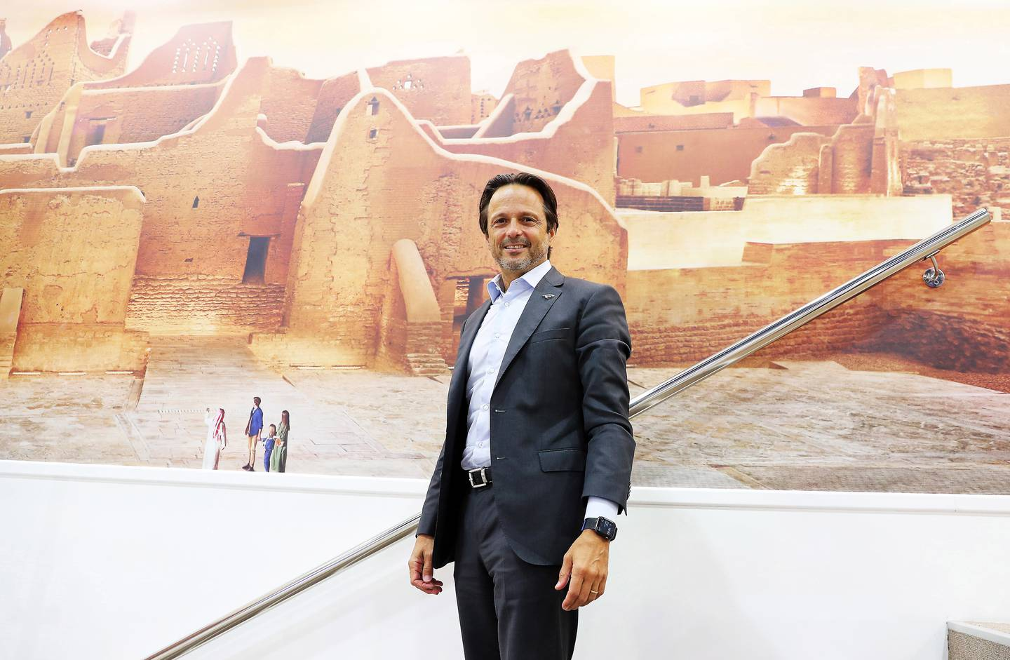 John Pagano, Chief Executive Officer for The Red Sea Development Company & AMAALA at the Saudi stand on the second day of the Arabian Travel Market held at Dubai World Trade Centre in Dubai on May 17,2021. Pawan Singh / The National. Story by Deena