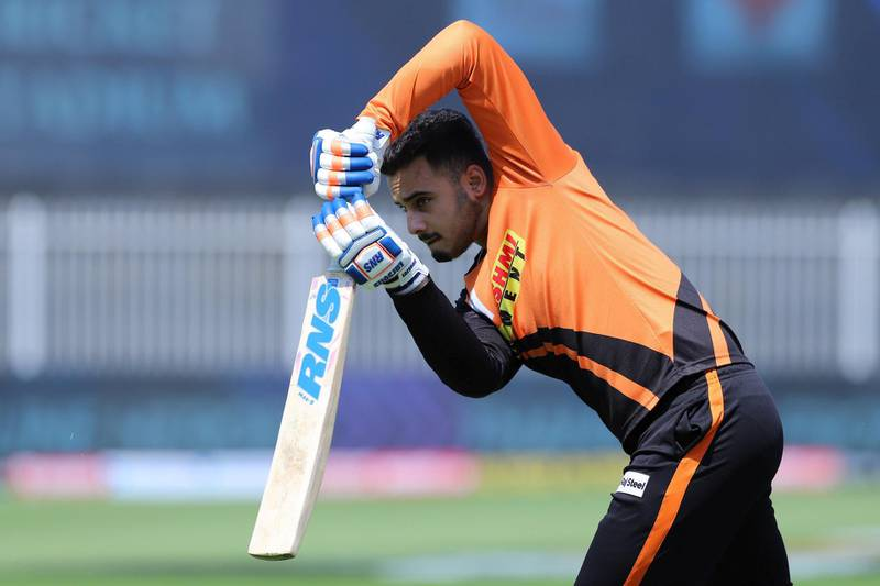 Abdul Samad of Sunrisers Hyderabad during the practise session before the start of match 17 of season 13 of the Dream 11 Indian Premier League (IPL) between the Mumbai Indians and the Sunrisers Hyderabad held at the Sharjah Cricket Stadium, Sharjah in the United Arab Emirates on the 4th October 2020. Photo by: Deepak Malik  / Sportzpics for BCCI