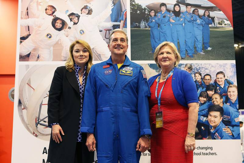 DUBAI , UNITED ARAB EMIRATES – April 19 , 2017 : Left to Right - Kerry Kennedy , CEO Honey Well , Don Thomas , Ex Astronaut from NASA and Deborah Barnhart , CEO , U . S . Space & Rocket Center at the Think Science Fair 2017 held at Dubai World Trade Centre in Dubai.  ( Pawan Singh / The National ) For News. Story by Amna Khaishgi. ID : 51977 *** Local Caption ***  PS1904- THINK SCIENCE19.jpg