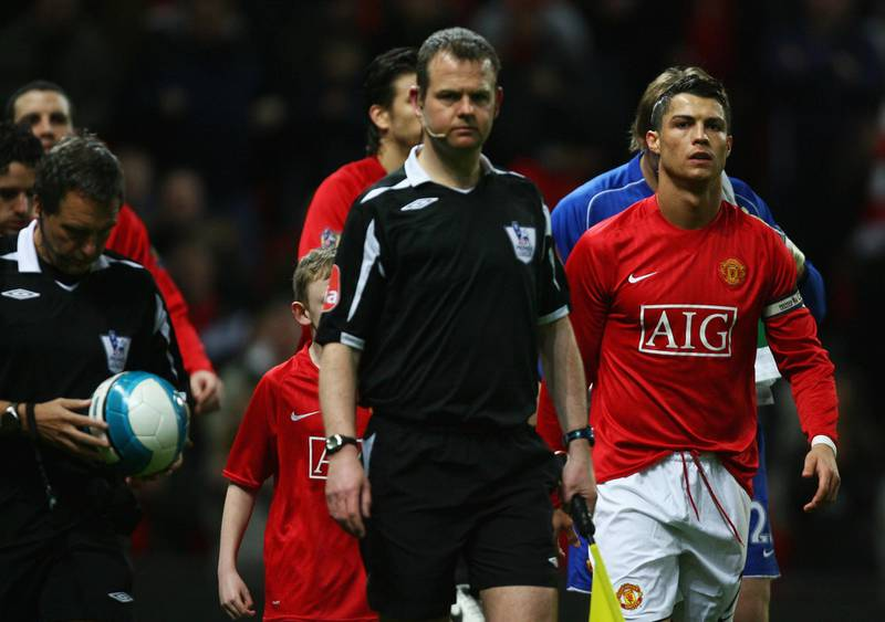 MANCHESTER, UNITED KINGDOM - MARCH 19:  Cristiano Ronaldo of Manchester United c(R) leads out his team as captain prior to the Barclays Premier League match between Manchester United and Bolton Wanderers at Old Trafford on March 19, 2008 in Manchester, England.  (Photo by Alex Livesey/Getty Images)