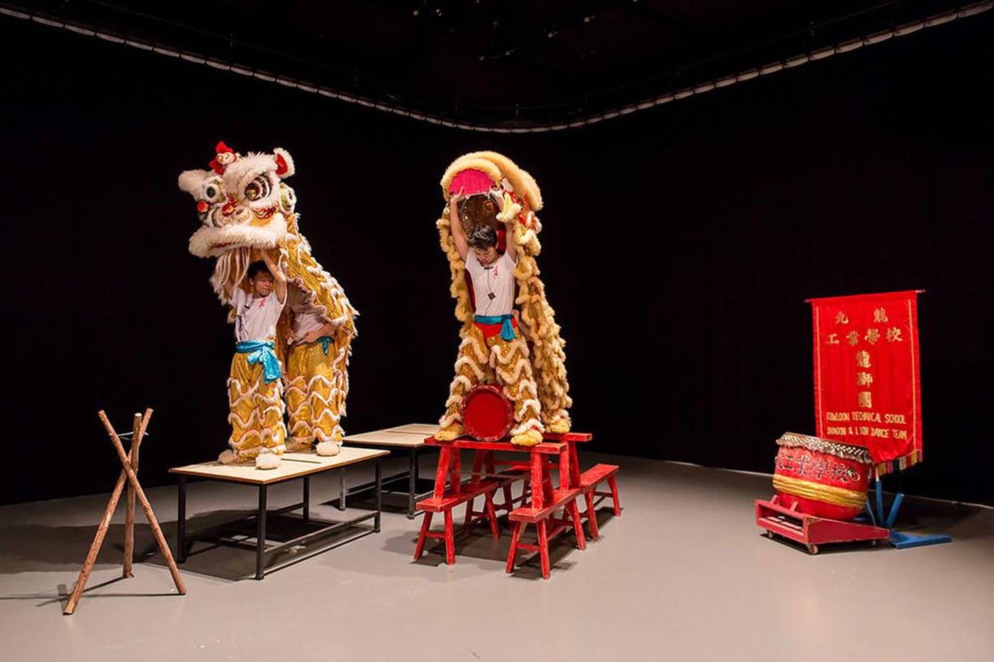 Samson Young, Muted Situation #2: Muted Lion Dance, 2014, instruction score, video. (Production Still) © Samson Young. Image courtesy the artist. Photo Credit: Dennis Man Wing Leung.
