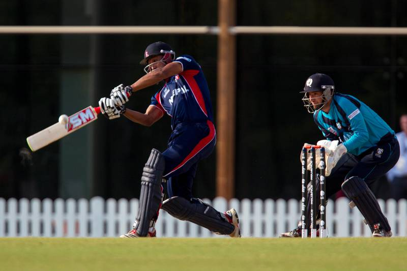 Dubai, United Arab Emirates, November 18, 2013:      Nepal's Paras Khadka hits against Scotland during their ICC World Twenty20 Qualifiers match at the ICC Global Cricket Academy in Dubai on November 18, 2013. Christopher Pike / The National  Reporter: Paul Radley Section: Sport *** Local Caption ***  CP1118-World T20 Qualifiers008.JPG