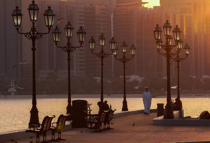 Abu Dhabi, United Arab Emirates, January 20, 2021.  Another cold morning at the Corniche, Abu Dhabi.Victor Besa/The National Section:  NA/Weather