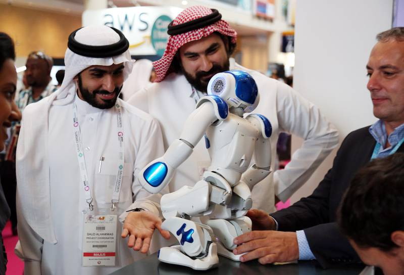 Dubai, 08, Oct, 2017 : Visitors take a look at the Robos during the  37th Gitex Technology Week at the World Trade Centre in Dubai. Satish Kumar / For the National