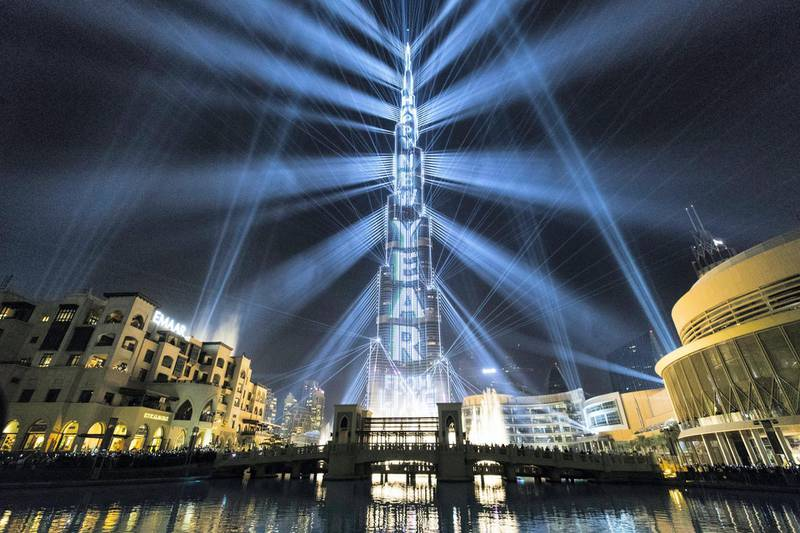 Dubai, United Arab Emirates, January 1, 2018:    New Years Eve celebrations at the Burj Khalifa on Emaar Boulvard in the downtown area of Dubai on January 1, 2018. Christopher Pike / The National  Reporter:  N/A Section: News