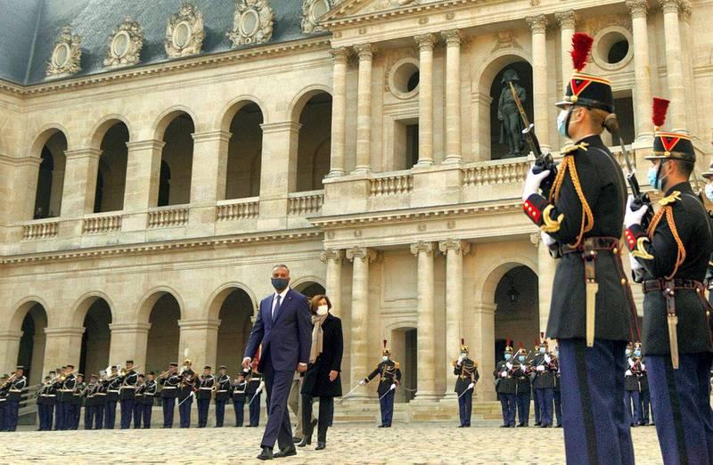 Iraqi Prime Minister Mustafa al-Kadhimi arrival for talks in Paris, France. Courtesy Media Office of the Prime Minister