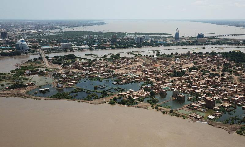 An aerial view shows buildings and roads submerged by floodwaters near the Nile River in South Khartoum, Sudan September 8, 2020. Picture taken September 8,2020 with a drone. REUTERS/El Tayeb Siddig
