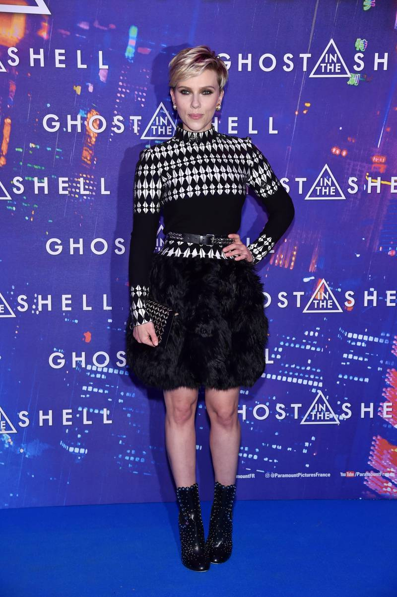 """PARIS, FRANCE - MARCH 21:  Scarlett Johansson attends the Paris Premiere of the Paramount Pictures release """"Ghost In The Shell"""" at Le Grand Rex on March 21, 2017 in Paris, France.  (Photo by Pascal Le Segretain/Getty Images For Paramount Pictures)"""