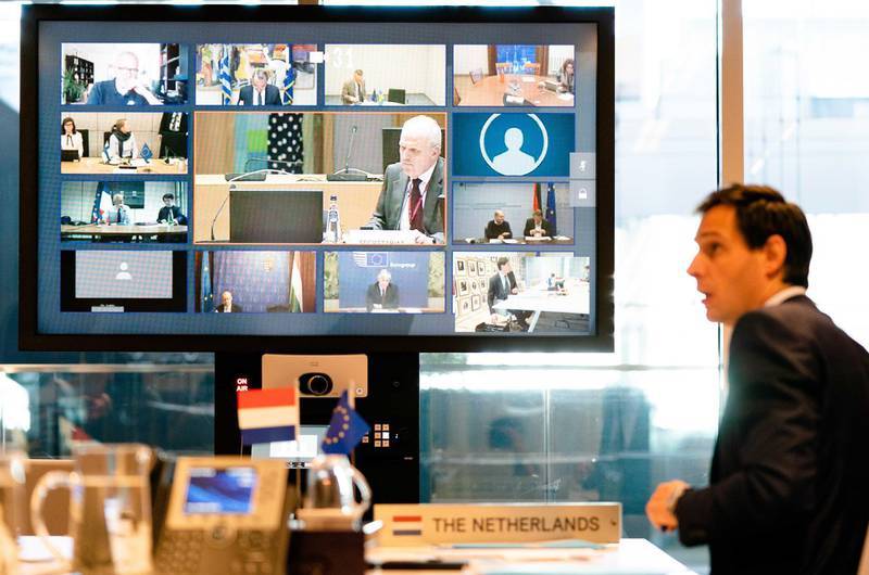 epa08348457 DutchMinister Wopke Hoekstra during a video conference with the EU finance ministers, on what means should be used to absorb the economic blow of the corona crisis, In The Hague, The Netherlands, 07 April 2020.  EPA/BART MAAT