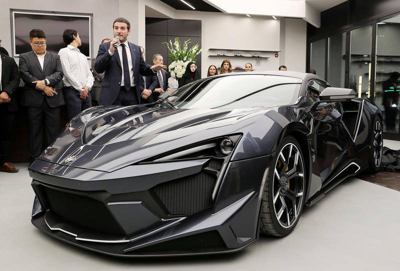 DUBAI , UNITED ARAB EMIRATES , NOV 29  – 2017 :- Ralph Debbas , CEO of W Motors speaking about Fenyr Super Sport car during the opening of  W Motors at the City Walk 2 Boulevard in Dubai. (Pawan Singh / The National) Story by Adam Workman
