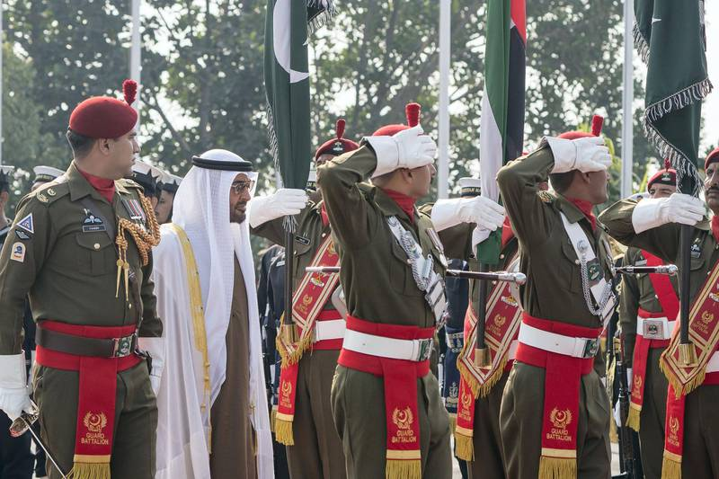 ISLAMABAD, PAKISTAN - January 06, 2019: HH Sheikh Mohamed bin Zayed Al Nahyan, Crown Prince of Abu Dhabi and Deputy Supreme Commander of the UAE Armed Forces (2nd L) attends a reception held by HE Imran Khan, Prime Minister of Pakistan (not shown), at the Prime Minister's residence. ( Rashed Al Mansoori / Ministry of Presidential Affairs ) ---