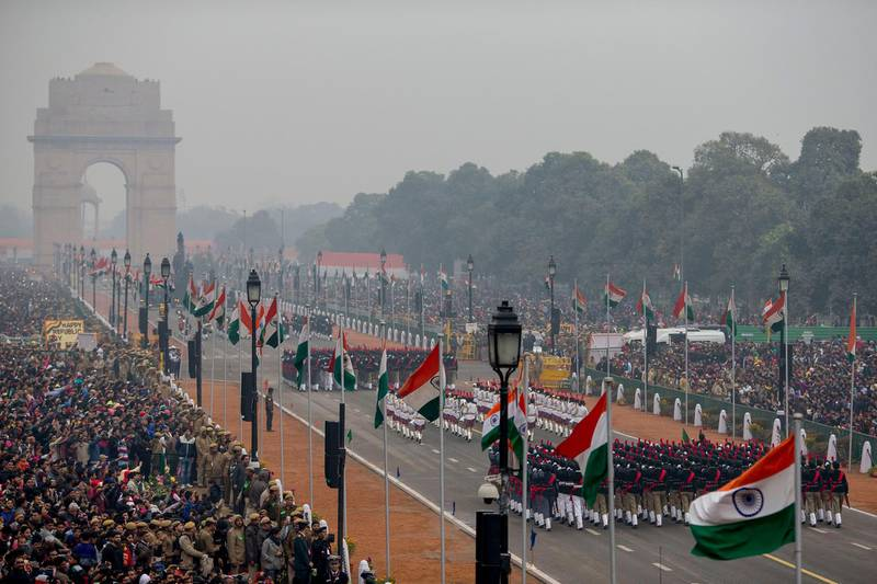 NEW DELHI, INDIA - January 26, 2017: The India Republic Day Parade 2017, on Rajpath, New Delhi.  ( Christopher Pike for Crown Prince Court - Abu Dhabi ) --- *** Local Caption ***  20170126_CP_10412302.JPG
