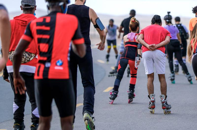 Abu Dhabi, United Arab Emirates, August 21, 2020.   The Madrollers skating group at the Al Wathba Bicycle Track do a  8 km. fun sprint.  The skating group has members from Dubai and Abu Dhabi.  They encourage safety and discipline on roller-skates, skateboard, long-board and bicycles.  The group starts the sprint.Victor Besa /The NationalSection:  Photo ProjectReporter: