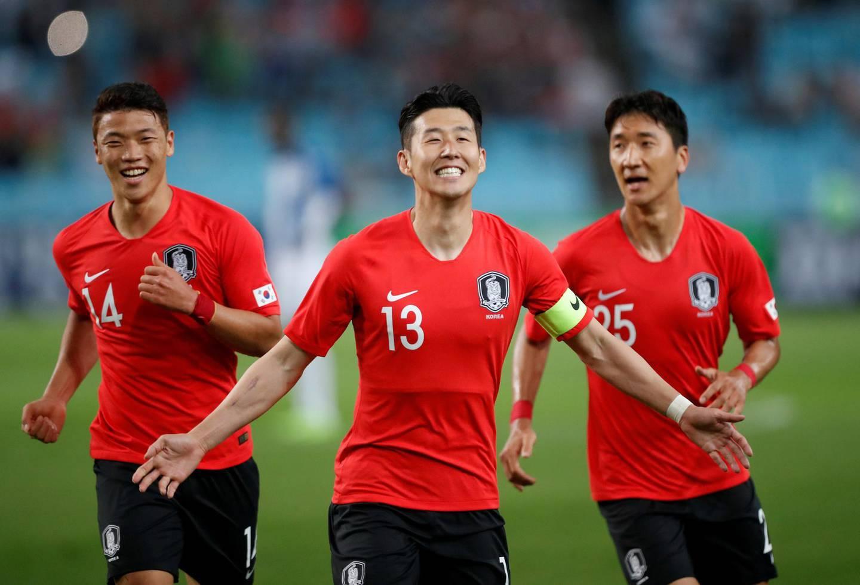 Soccer Football - International Friendly - South Korea vs Honduras - Daegu Stadium, Daegu, South Korea - May 28, 2018   South Korea's Son Heung-Min celebrates scoring their first goal with team mates        REUTERS/Kim Hong-Ji     TPX IMAGES OF THE DAY