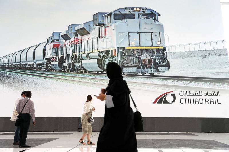 ABU DHABI,  UNITED ARAB EMIRATES , OCTOBER 6 – 2019 :- Delegates looking at the Etihad Rail poster during the 26th World Road Congress exhibition held at Abu Dhabi National Exhibition Center in Abu Dhabi. ( Pawan Singh / The National ) For News. Story by Patrick