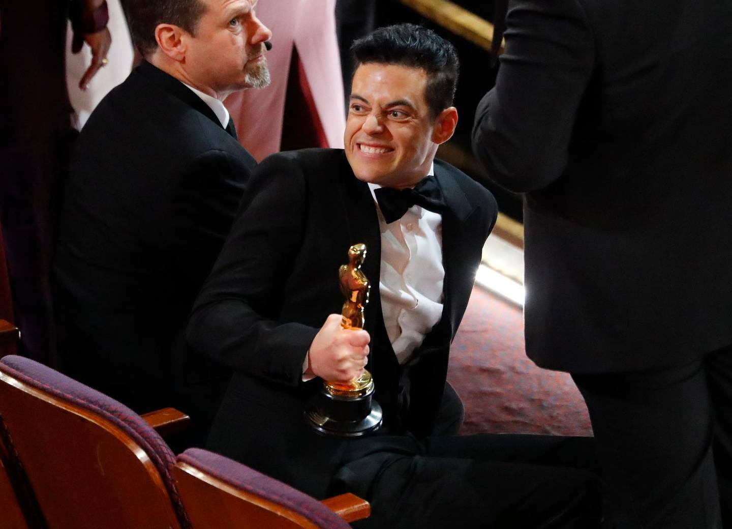91st Academy Awards - Oscars Show - Hollywood, Los Angeles, California, U.S., February 24, 2019. Rami Malek holds his Best Actor Oscar as he reacts after the show concluded. REUTERS/Mike Blake