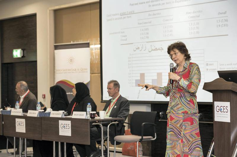 RAS AL KHAIMAH, UNITED ARAB EMIRATES. 08 APRIL 2018. Work being done to improve Arabic teaching in private schools. Helen Abadzi speaking at the GCES symposium. (Photo: Antonie Robertson/The National) Journalist: Ramola Talwar. Section: National.