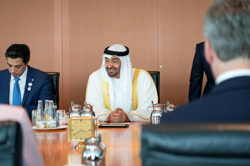 BERLIN, GERMANY - June 12, 2019: HH Sheikh Mohamed bin Zayed Al Nahyan, Crown Prince of Abu Dhabi and Deputy Supreme Commander of the UAE Armed Forces (R), meets with HE Angela Merkel, Chancellor of Germany (Not shown) in the Chancellor's Office in Berlin, Germany. Seen with HH Sheikh Mansour bin Zayed Al Nahyan, UAE Deputy Prime Minister and Minister of Presidential Affairs (L).   (Eissa Al Hammadi / For the Ministry of Presidential Affairs )