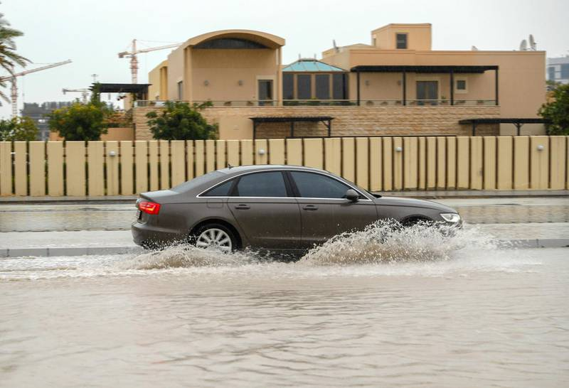 Abu Dhabi, United Arab Emirates, January 11, 2020.  Abu Dhabi rains.Flooding on Al Ishoush St, Abu Dhabi.Victor Besa / The National