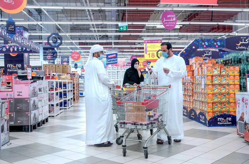 Abu Dhabi, United Arab Emirates, April 21, 2020.   Early Ramadan shoppers at Carrefour Yas Mall.Victor Besa / The NationalSection:  NAFor:  Stock images