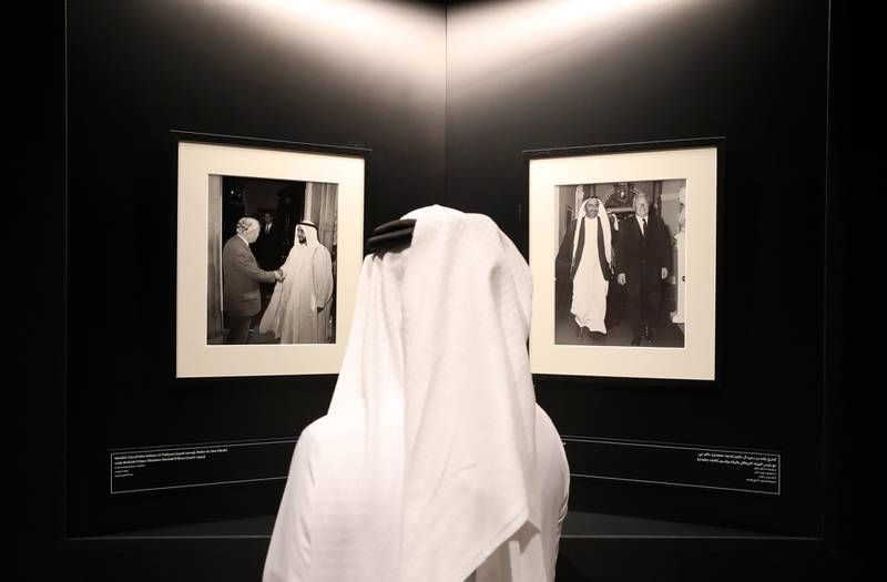 Dubai, United Arab Emirates - Reporter: Alexandra Chaves. Arts and Life. Photographs in Dialogue at the Etihad Museum documents the diplomatic relationship between the UK and the UAE, from the 1960s and 70s to the foundation of the country in 1971. Pictures of Sheikh Zayed and Sheikh Rashid bin Saeed Al Maktoum with British Prime Minster Harold Wilson in 1969. Monday, August 24th, 2020. Dubai. Chris Whiteoak / The National