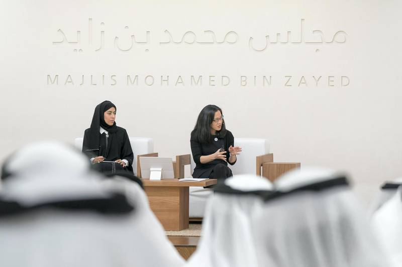 ABU DHABI, UNITED ARAB EMIRATES - May 23, 2018: Angela Duckworth (2nd L) delivers a lecture titled 'True Grit: The Surprising, and Inspiring Science of Success', at Majlis Mohamed bin Zayed. Seen with HE Hessa Essa Buhumaid, UAE Minister of Community Development (L). (Mohamed Al Hammadi / Crown Prince Court - Abu Dhabi ) ---