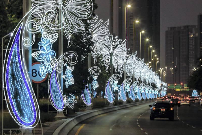 Abu Dhabi, United Arab Emirates, July 19, 2020.     Eid Al Adha Corniche lights.Victor Besa  / The NationalSection: NAReporter: