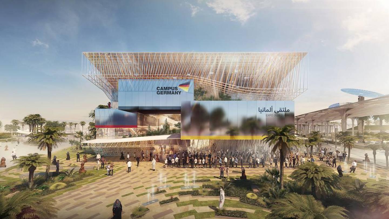 Der Deutsche Pavillon CAMPUS GERMANY: Front / The German Pavilion CAMPUS GERMANY: front. Courtesy Koelnmesse GmbH, / Expo 2020 Dubai