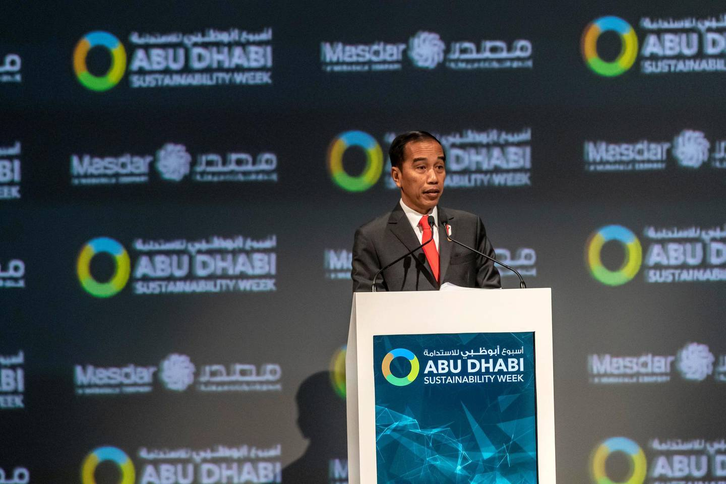 ABU DHABI, UNITED ARAB EMIRATES. 13 JANUARY 2020. The Zayed Sustainability Awards held at ADNEC as part of Abu Dhabi Sustainability Week. H.E. Joko Widodo, President of the Republic of Indonesia. (Photo: Antonie Robertson/The National) Journalist: Kelly Clarker. Section: National.