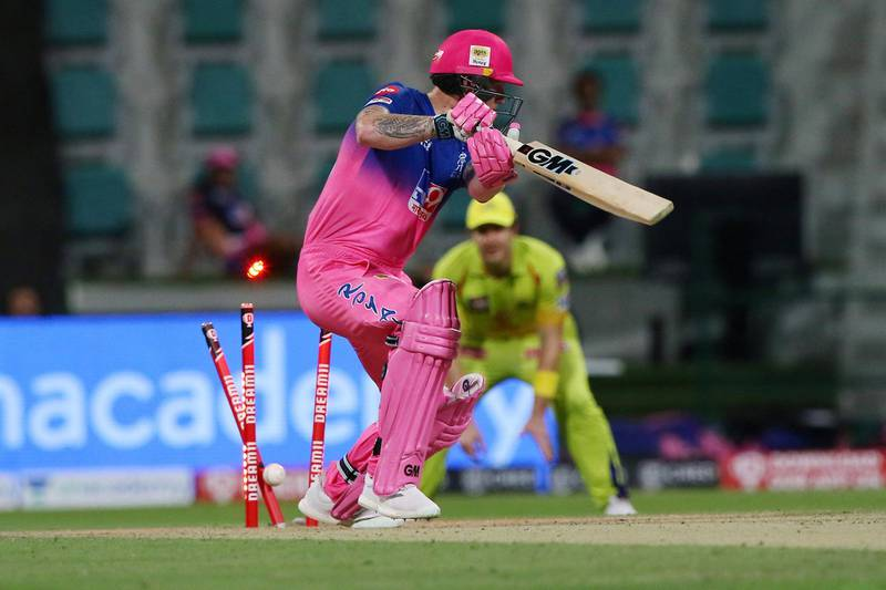 Ben Stokes of Rajasthan Royals gets clean bowled during match 37 of season 13 of the Dream 11 Indian Premier League (IPL) between the Chennai Super Kings and the Rajasthan Royals at the Sheikh Zayed Stadium, Abu Dhabi  in the United Arab Emirates on the 19th October 2020.  Photo by: Pankaj Nangia  / Sportzpics for BCCI