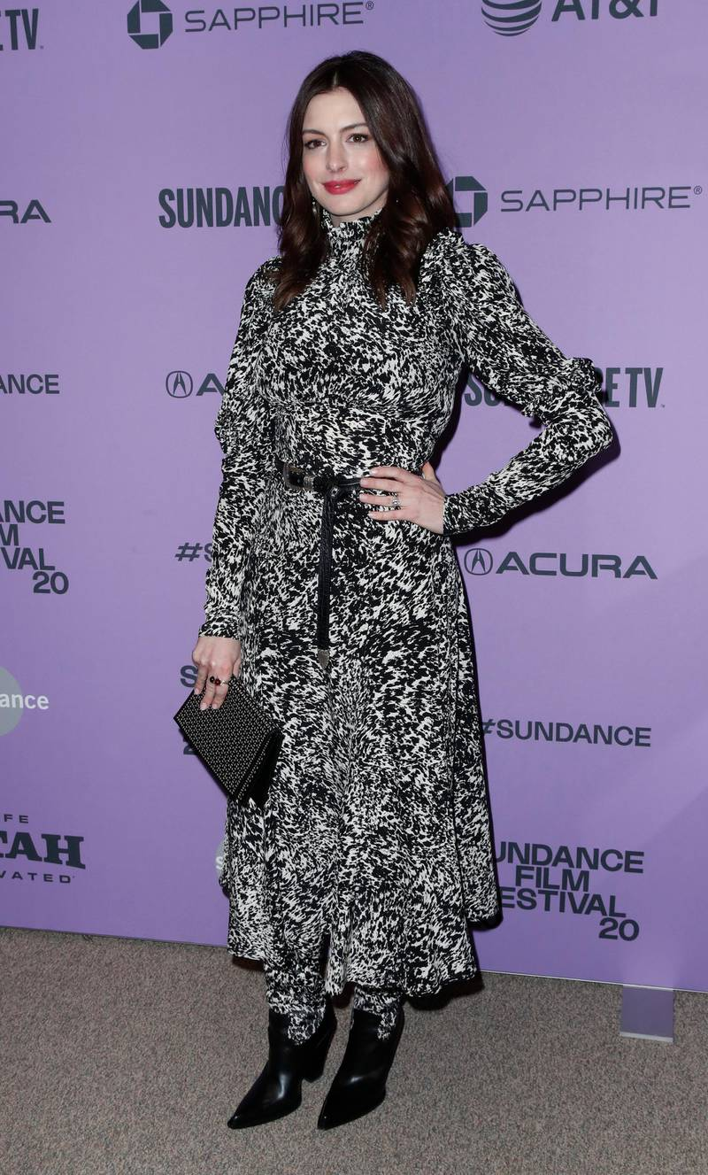 epa08171525 US actress Anne Hathaway arrives for the premiere of 'The Last Thing He Wanted' at the 2020 Sundance Film Festival in Park City, Utah, USA, 27 January 2020. The festival runs from 22 January to 02 February 2020.  EPA-EFE/GEORGE FREY