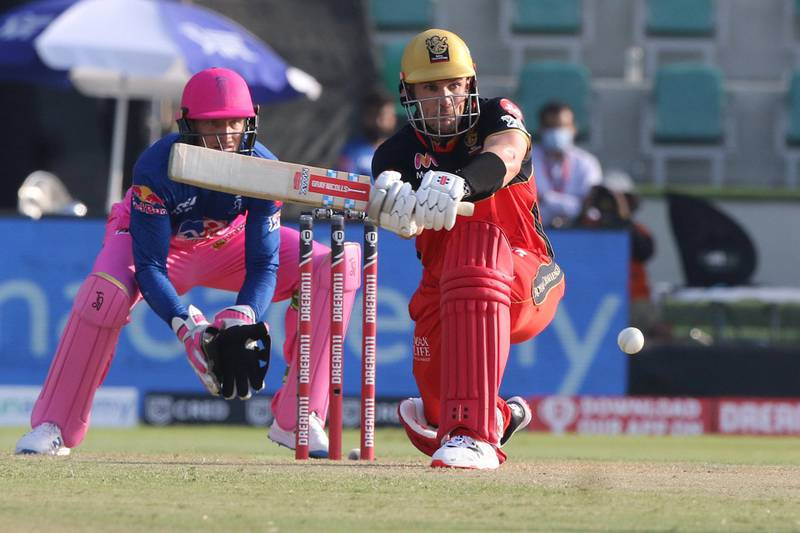 Aaron Finch of Royal Challengers Bangalore plays a shot during match 15 of season 13 of Indian Premier League (IPL) between the Royal Challengers Bangalore and the Rajasthan Royals at the Sheikh Zayed Stadium, Abu Dhabi  in the United Arab Emirates on the 3rd October 2020.  Photo by: Pankaj Nangia  / Sportzpics for BCCI