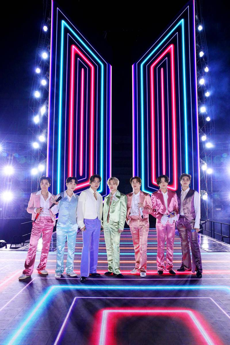 """In this handout image courtesy of ABC South Korean band BTS performs during the 2020 American Music Awards aired from the Microsoft theatre on November 22, 2020 in Los Angeles. (Photo by - / American Broadcasting Companies, Inc. / ABC / AFP) / RESTRICTED TO EDITORIAL USE - MANDATORY CREDIT """"AFP PHOTO / Courtesy of ABC"""" - NO MARKETING - NO ADVERTISING CAMPAIGNS - DISTRIBUTED AS A SERVICE TO CLIENTS"""