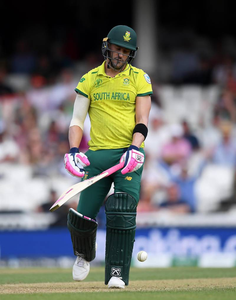 LONDON, ENGLAND - JUNE 02: Faf du Plessis of South Africa reacts after being  bowled by Mehedi Hasan of Bangladesh during the Group Stage match of the ICC Cricket World Cup 2019 between South Africa and Bangladesh at The Oval on June 02, 2019 in London, England. (Photo by Alex Davidson/Getty Images)