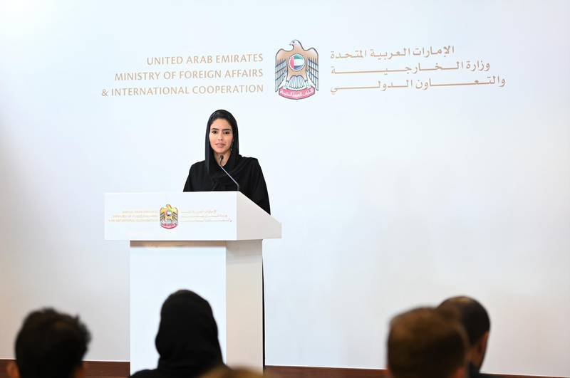 Hend Al Otaiba, Director of Strategic Communications, UAE Ministry of Foreign Affairs and International Cooperation speaks during a press briefing in Abu Dhabi, on Sunday 15, September 2019. Ministry of Foreign Affarirs and International Cooperation.