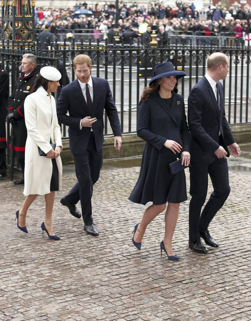 The Duke and Duchess of Cambridge, Prince Harry and Meghan Markle, arrive for the Commonwealth Service at Westminster Abbey, London.