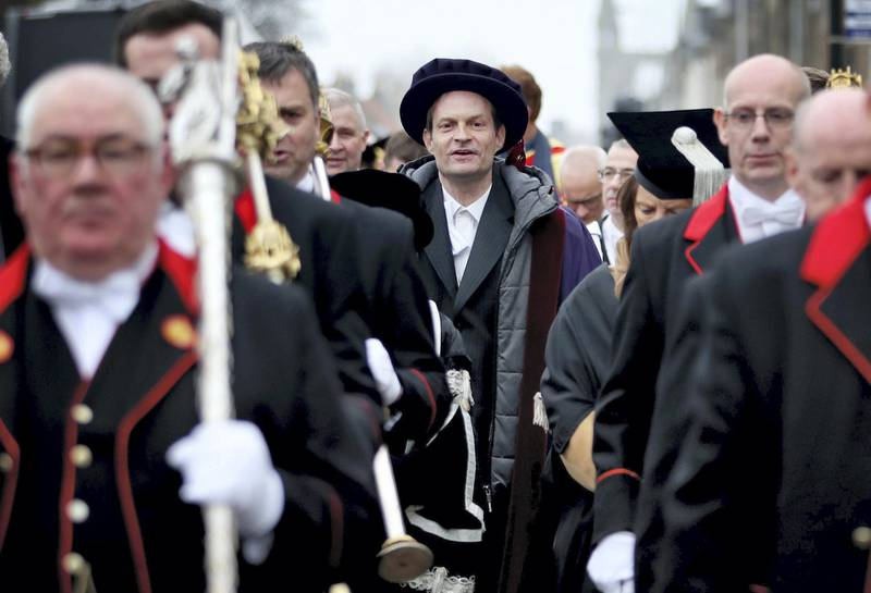 Serbian political activist Srdja Popovic, in the procession through the streets of St Andrews, Fife, after he was installed as the new rector at the University of St Andrews. (Photo by Jane Barlow/PA Images via Getty Images)