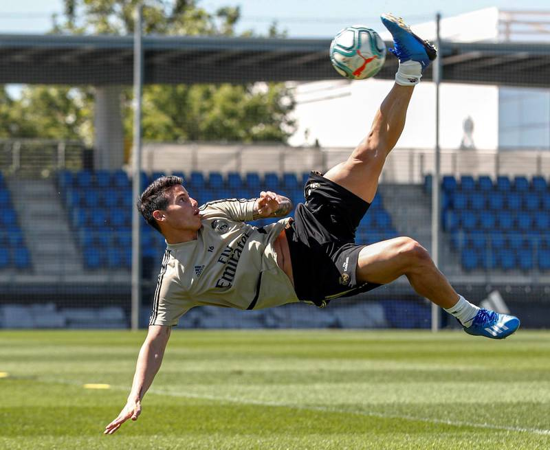 MADRID, SPAIN - MAY 21: James Rodriguez of Real Madrid during the team's training session during the Covid-19 pandemic at Valdebebas training ground on May 21, 2020 in Madrid, Spain. (Photo by Antonio Villalba/Real Madrid via Getty Images)