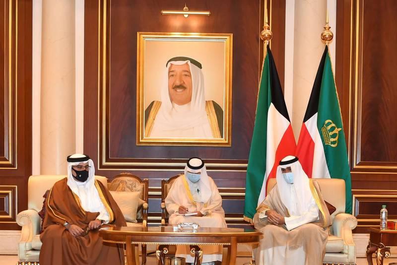 Kuwait's Emir Sheikh Nawaf al-Ahmad al-Sabah receives Bahrain's Prince Salman bin Hamad Al Khalifa who offered condolences on the passing of the late Sheikh Sabah al-Ahmad al-Sabah. Kuwait News Agency