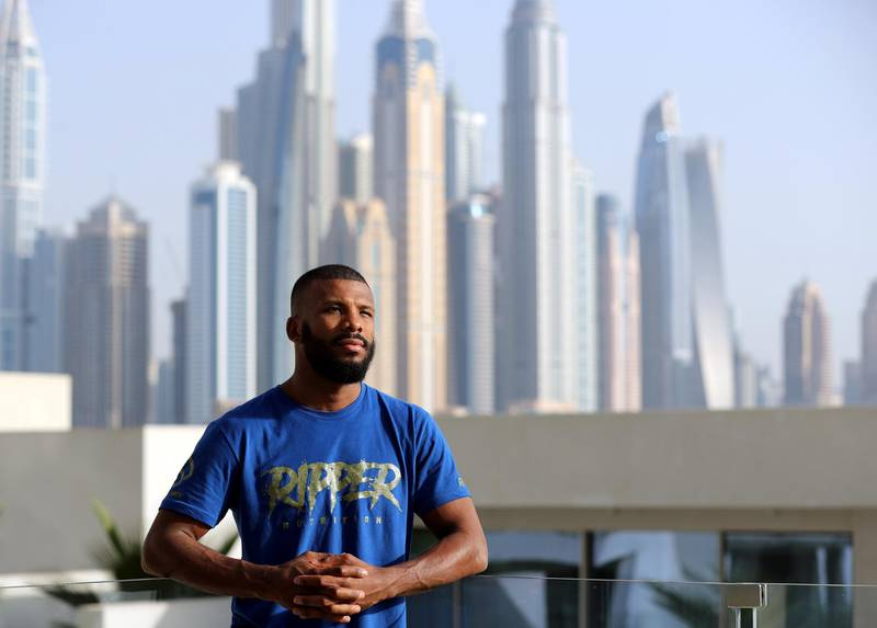Dubai, United Arab Emirates - May 24th, 2018: World boxing champ Badou Jack. He is in Dubai doing the philanthropic and humanitarian tour he does after each fight and has already fed an entire village in Gambia.  Badou is also launching the Badou Jack foundation to build and enhance orphanages around the world from his own money. Thursday, May 24th, 2018 at Five, Dubai. Chris Whiteoak / The National